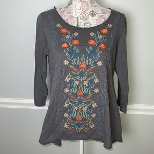 CAITE Gray Embroidered Blouse Small